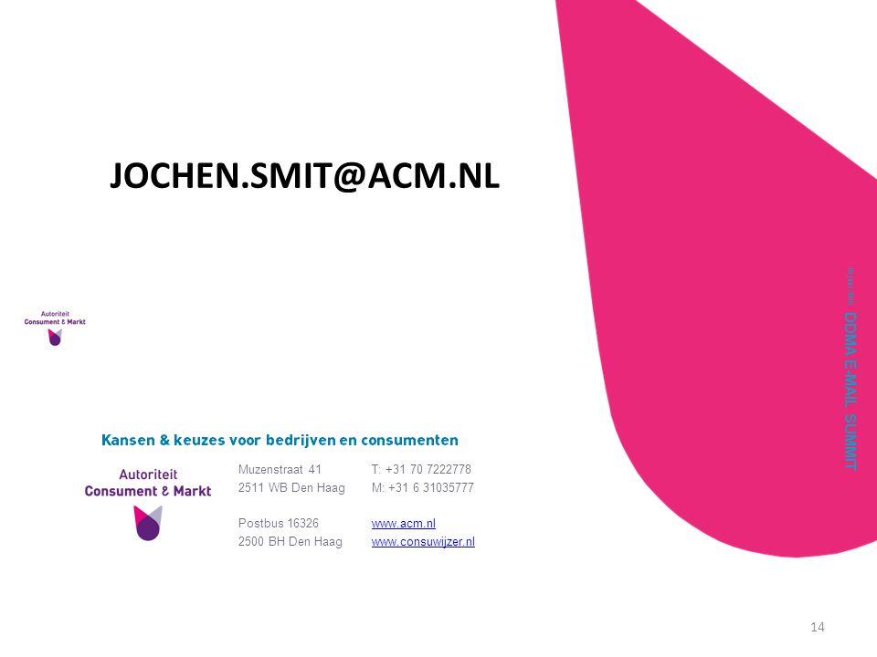 VRAGEN JOCHEN.SMIT@ACM.NL DDMA E-MAIL SUMMIT Muzenstraat 41