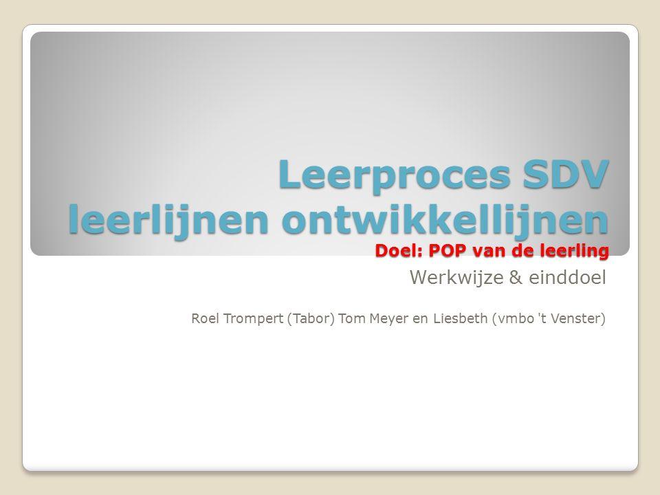 Leerproces SDV leerlijnen ontwikkellijnen Doel: POP van de leerling