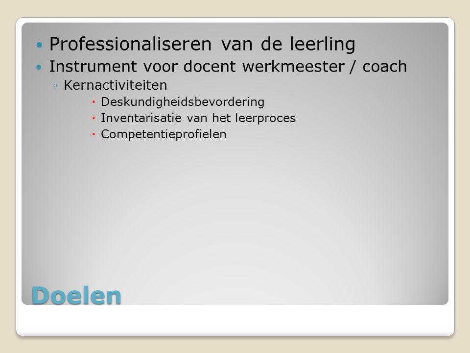 Doelen Professionaliseren van de leerling