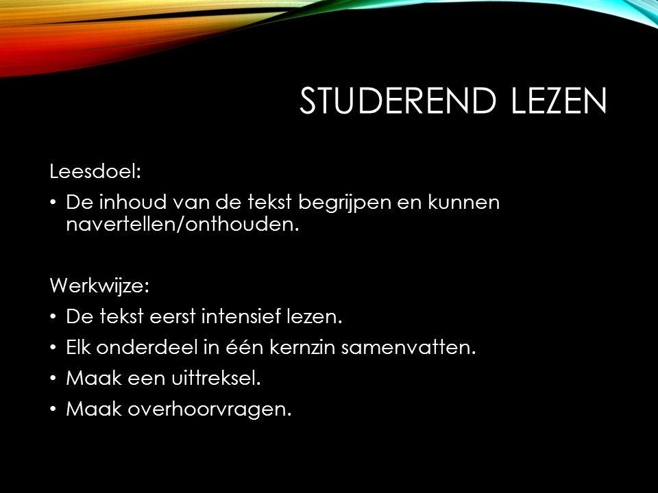 Studerend lezen Leesdoel:
