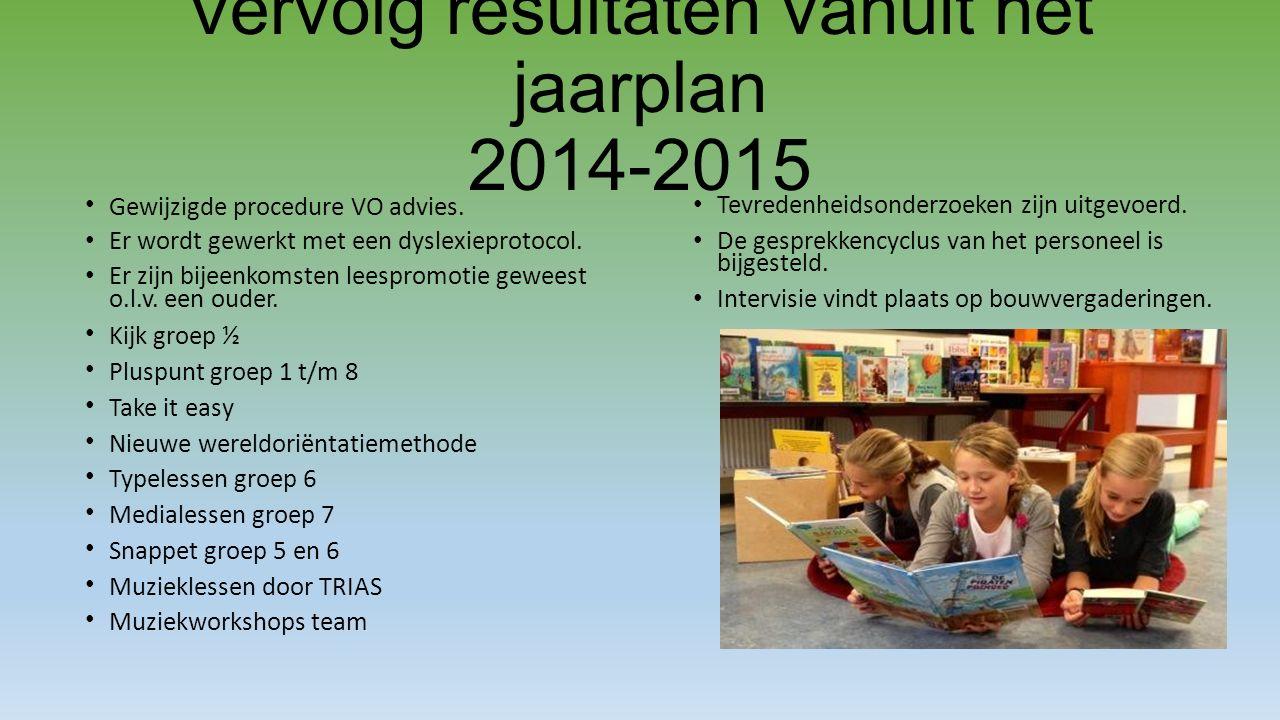 Vervolg resultaten vanuit het jaarplan 2014-2015