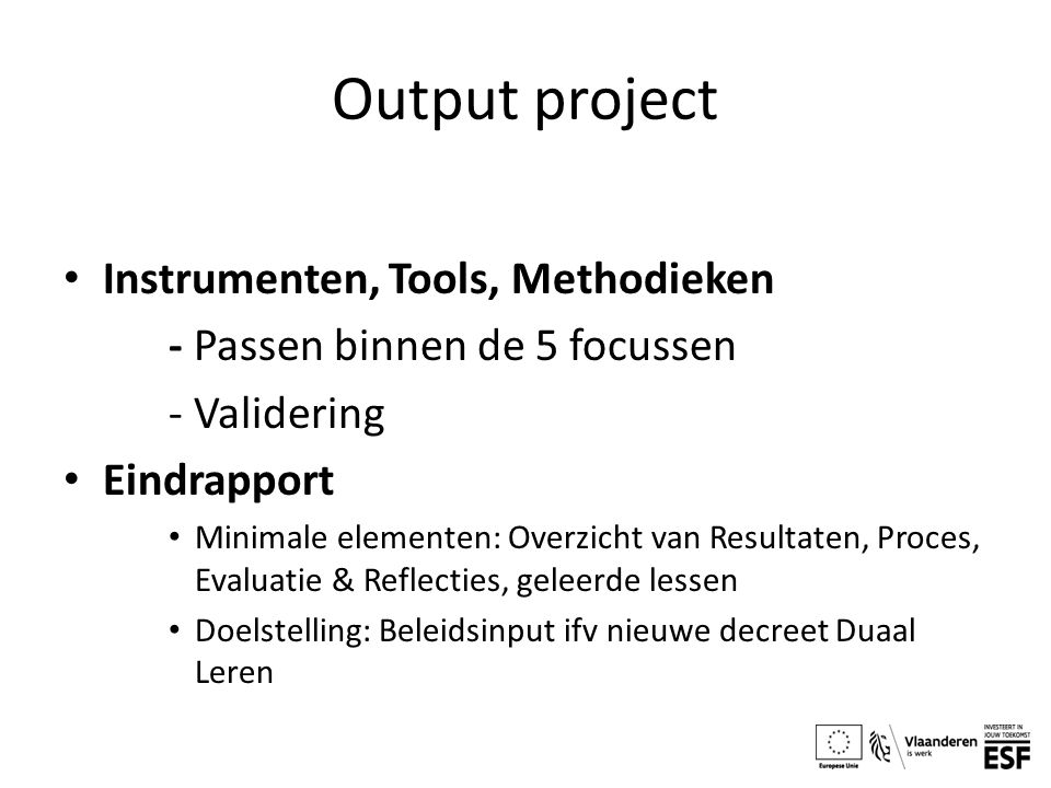 Output project Instrumenten, Tools, Methodieken