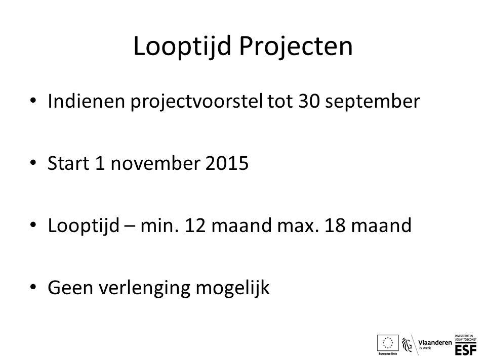 Looptijd Projecten Indienen projectvoorstel tot 30 september