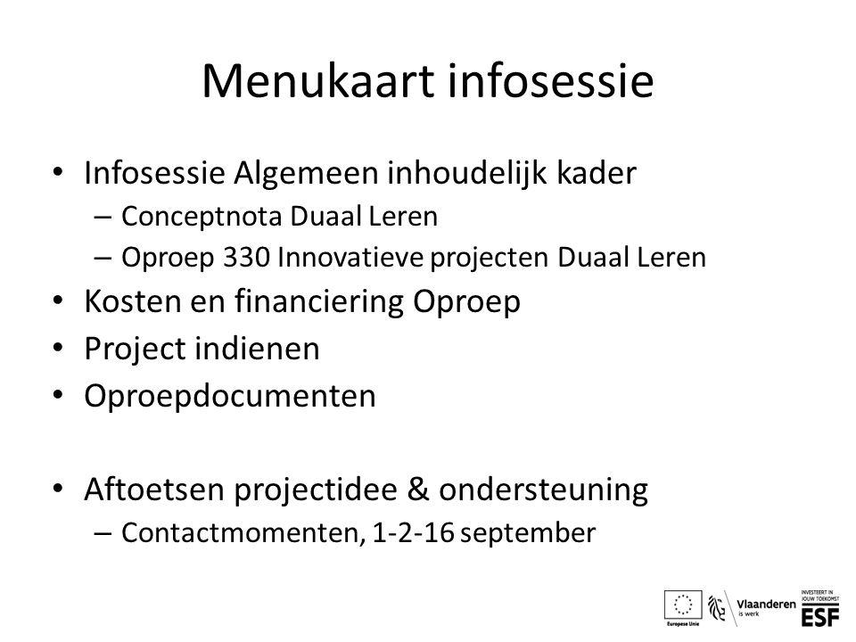 Menukaart infosessie Infosessie Algemeen inhoudelijk kader
