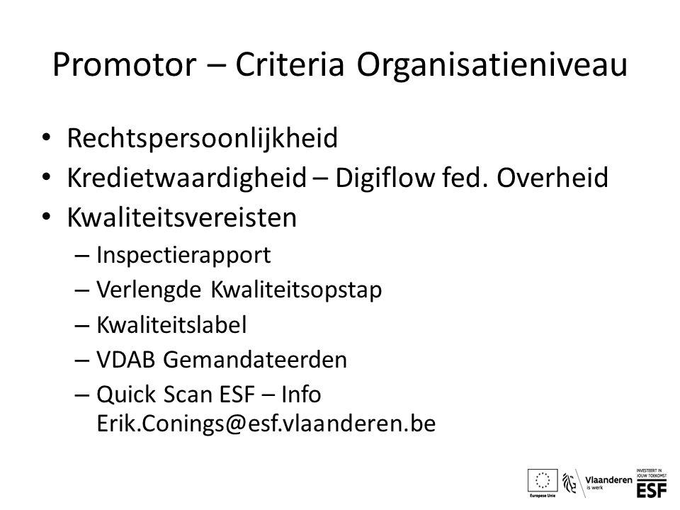 Promotor – Criteria Organisatieniveau