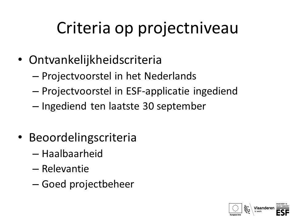 Criteria op projectniveau