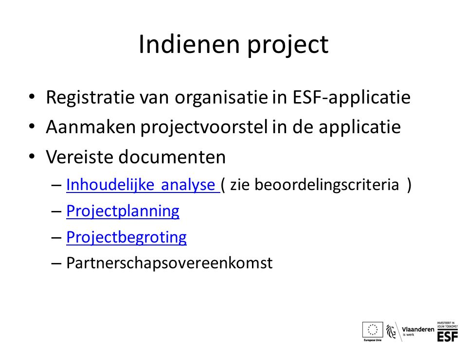 Indienen project Registratie van organisatie in ESF-applicatie