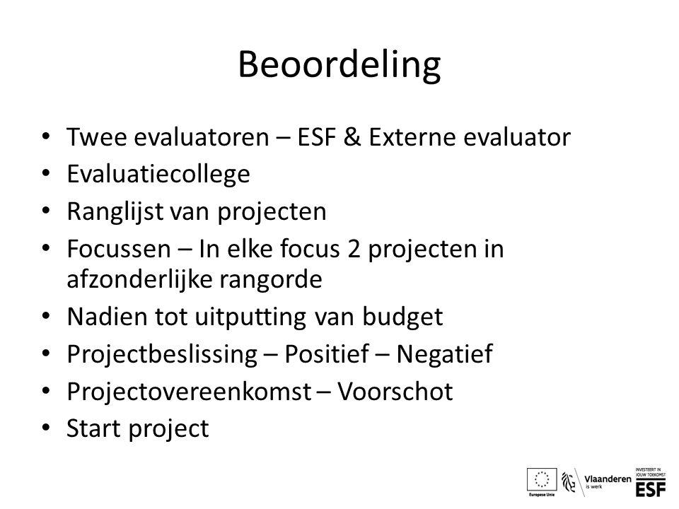 Beoordeling Twee evaluatoren – ESF & Externe evaluator