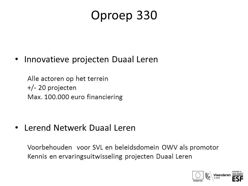 Oproep 330 Innovatieve projecten Duaal Leren