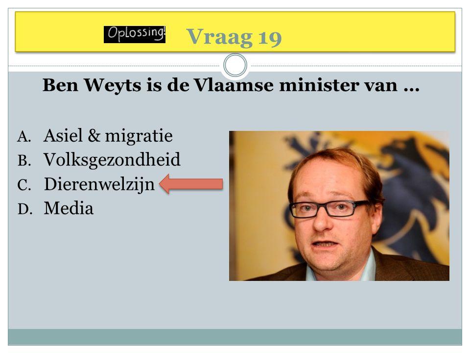 Ben Weyts is de Vlaamse minister van …