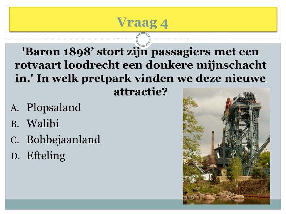 Vraag 4 Baron 1898' stort zijn passagiers met een rotvaart loodrecht een donkere mijnschacht in. In welk pretpark vinden we deze nieuwe attractie