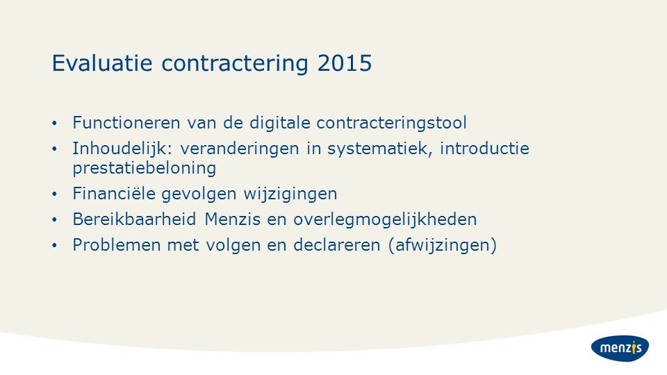 Evaluatie contractering 2015