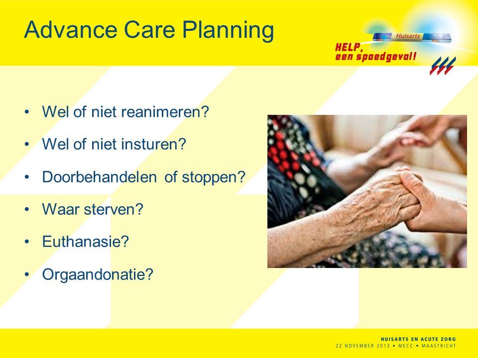 Advance Care Planning Wel of niet reanimeren Wel of niet insturen