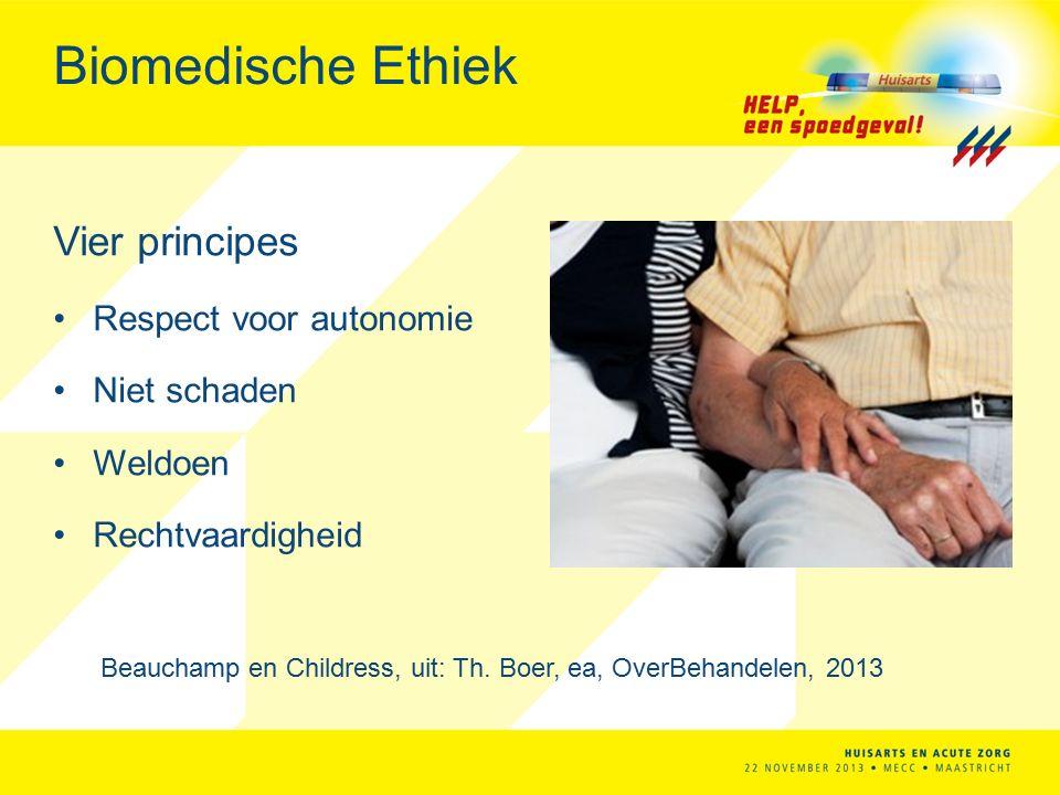 Biomedische Ethiek Vier principes Respect voor autonomie Niet schaden