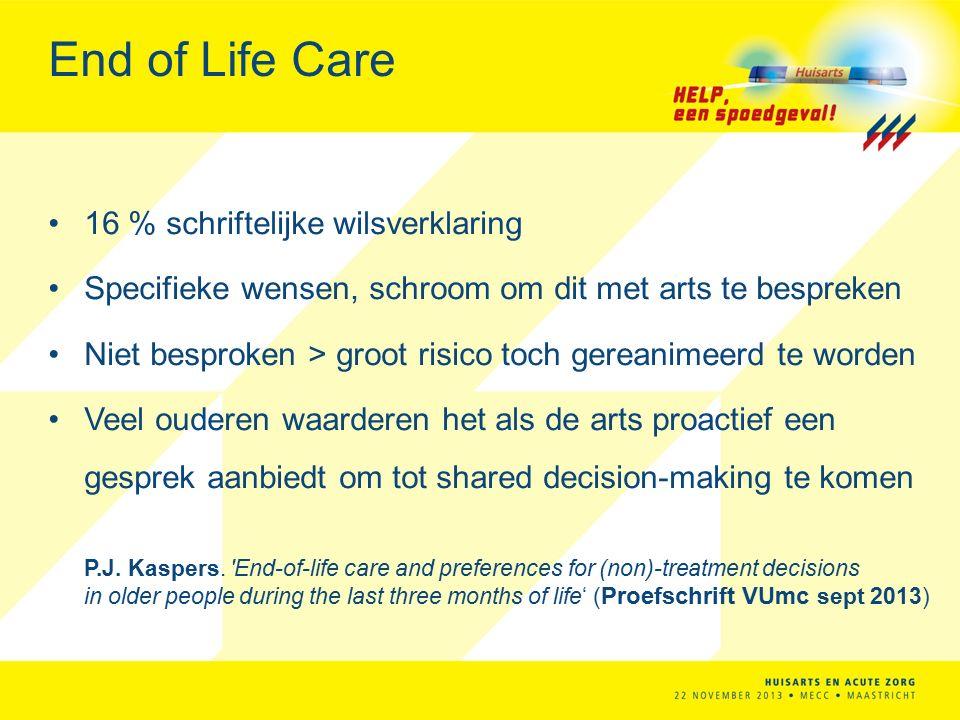 End of Life Care 16 % schriftelijke wilsverklaring