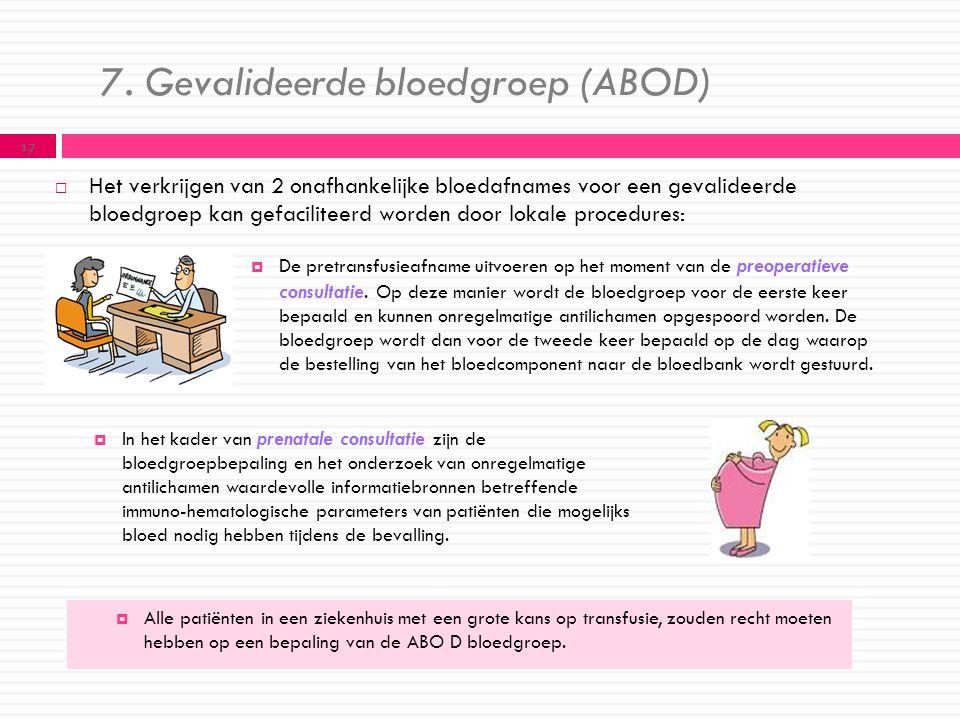 7. Gevalideerde bloedgroep (ABOD)