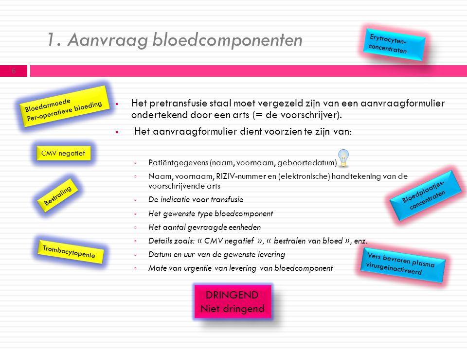 1. Aanvraag bloedcomponenten