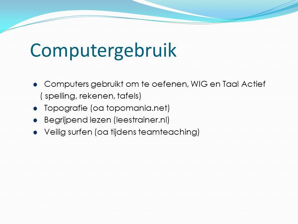 Computergebruik Computers gebruikt om te oefenen, WIG en Taal Actief