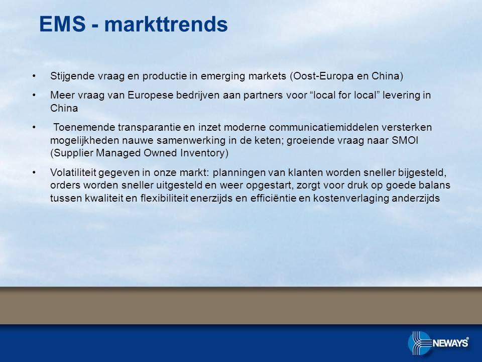 EMS - markttrends Stijgende vraag en productie in emerging markets (Oost-Europa en China)