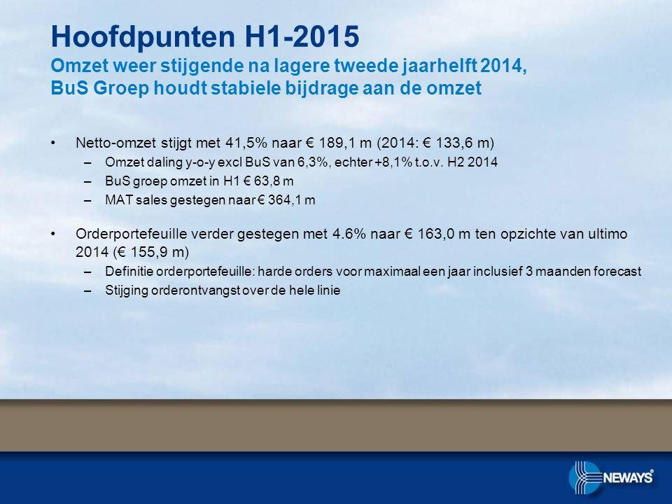 Hoofdpunten H1-2015 Omzet weer stijgende na lagere tweede jaarhelft 2014, BuS Groep houdt stabiele bijdrage aan de omzet
