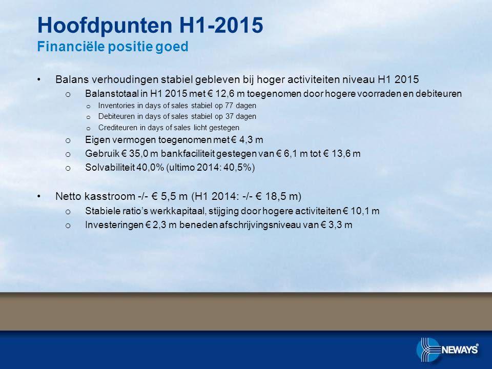 Hoofdpunten H1-2015 Financiële positie goed
