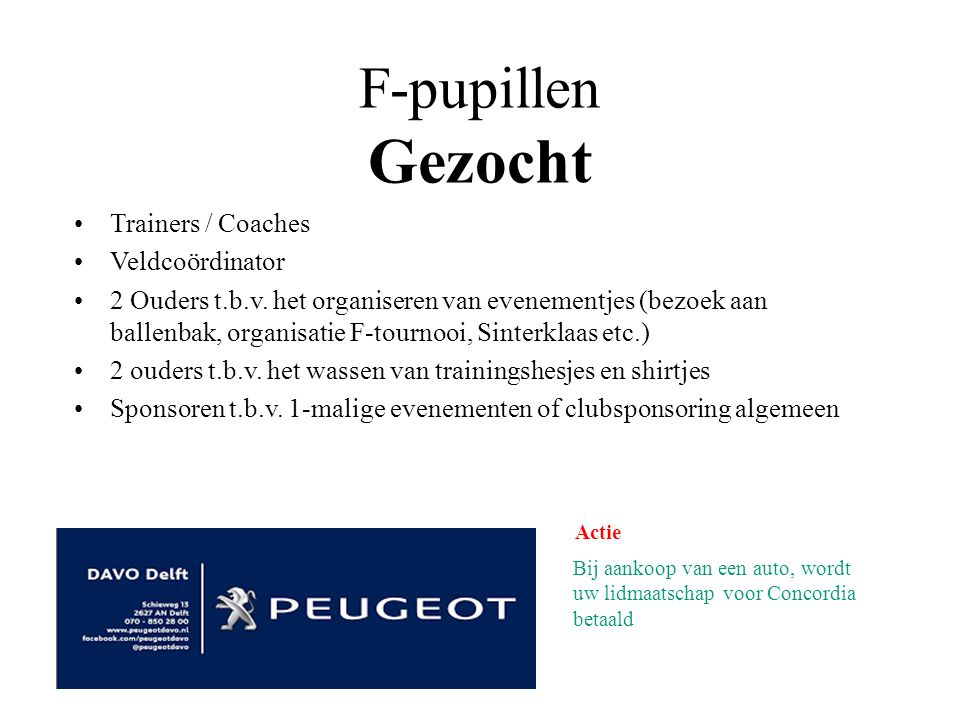 F-pupillen Gezocht Trainers / Coaches Veldcoördinator