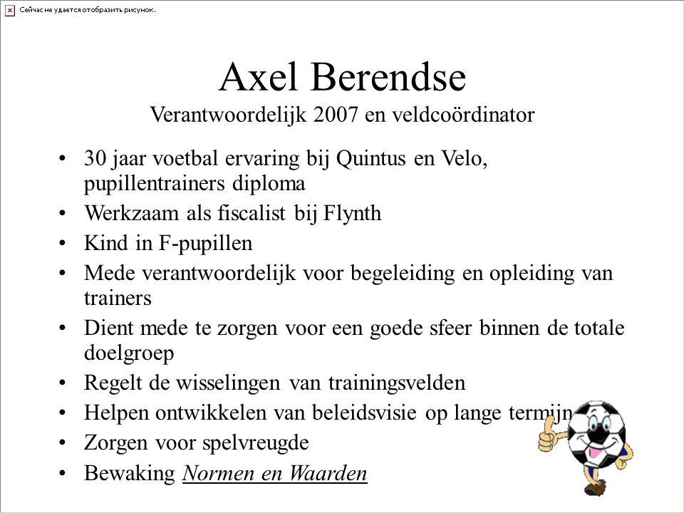 Axel Berendse Verantwoordelijk 2007 en veldcoördinator