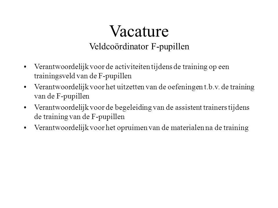 Vacature Veldcoördinator F-pupillen