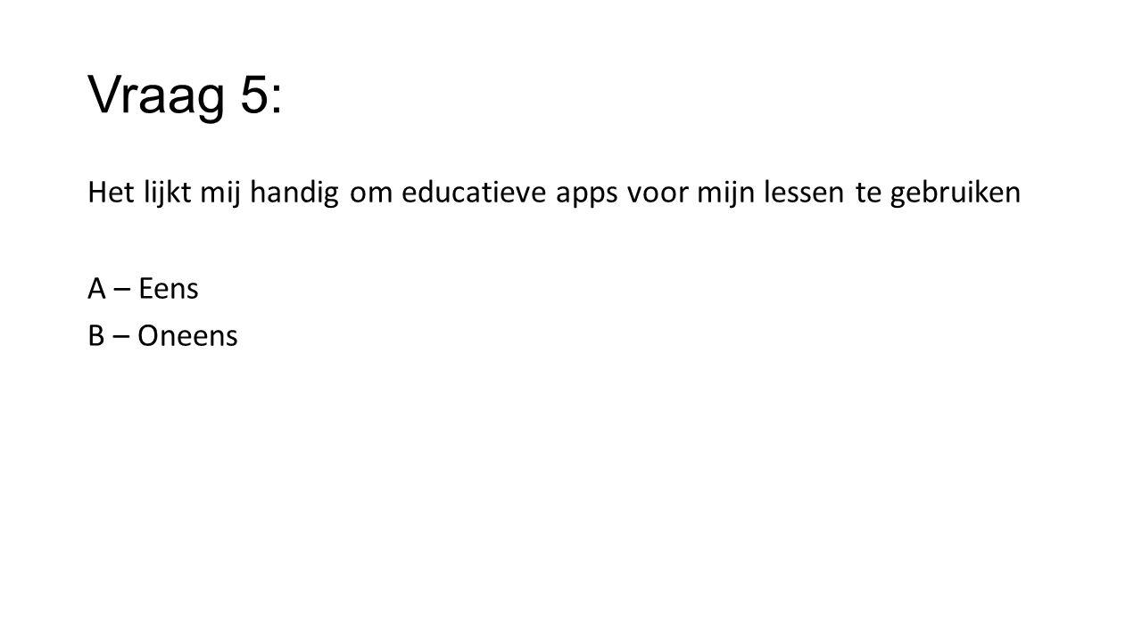 Vraag 5: Het lijkt mij handig om educatieve apps voor mijn lessen te gebruiken A – Eens B – Oneens