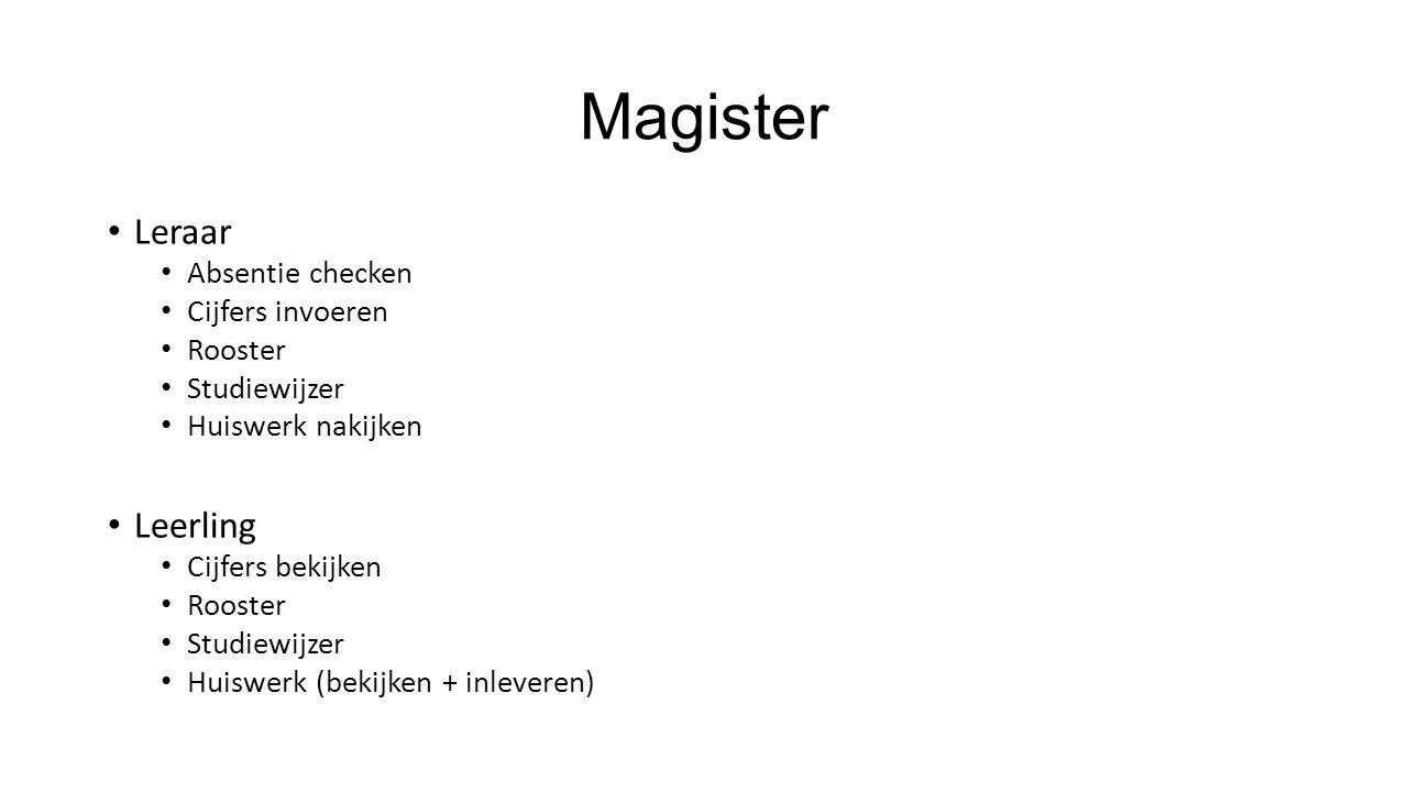 Magister Leraar Leerling Absentie checken Cijfers invoeren Rooster