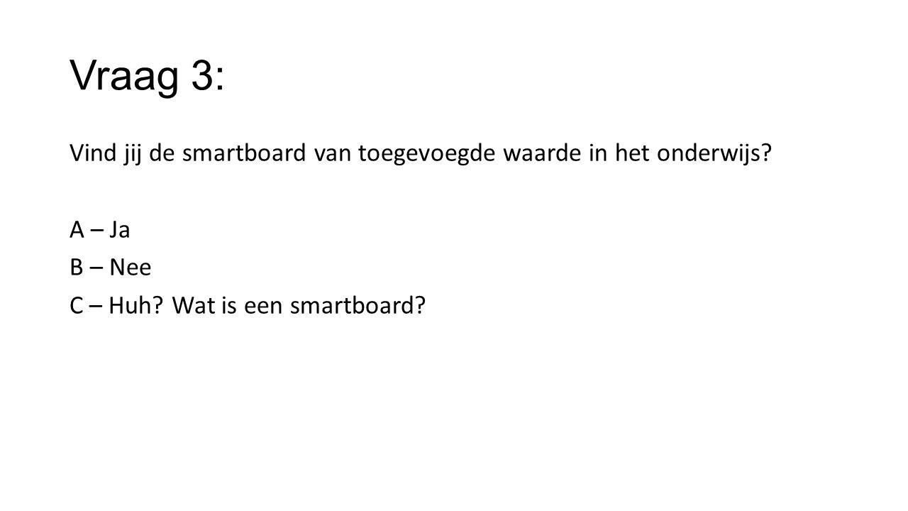 Vraag 3: Vind jij de smartboard van toegevoegde waarde in het onderwijs.