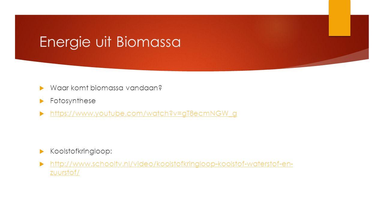 Energie uit Biomassa Waar komt biomassa vandaan Fotosynthese
