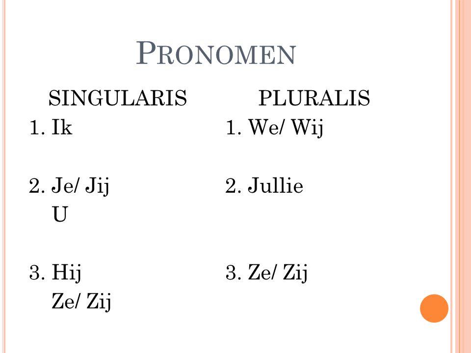Pronomen SINGULARIS 1. Ik 2. Je/ Jij U 3. Hij Ze/ Zij