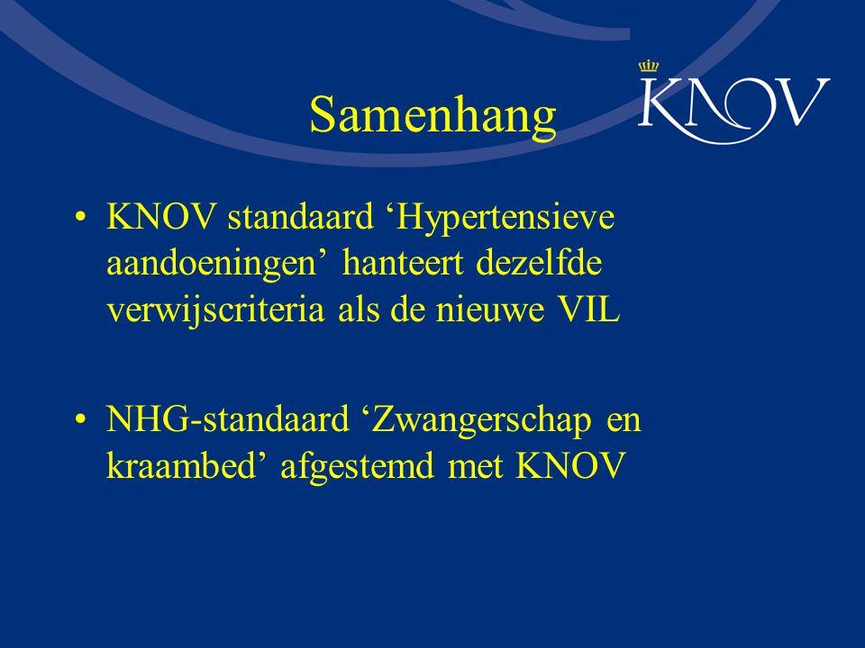 Samenhang KNOV standaard 'Hypertensieve aandoeningen' hanteert dezelfde verwijscriteria als de nieuwe VIL.