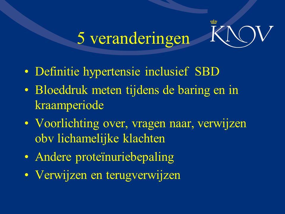5 veranderingen Definitie hypertensie inclusief SBD