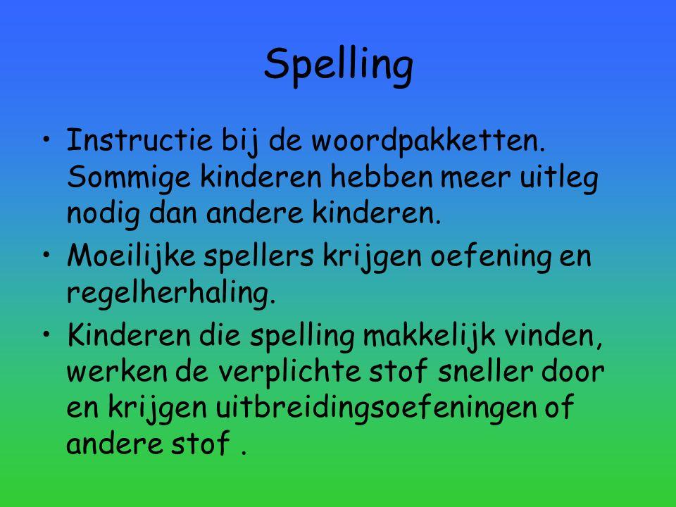 Spelling Instructie bij de woordpakketten. Sommige kinderen hebben meer uitleg nodig dan andere kinderen.