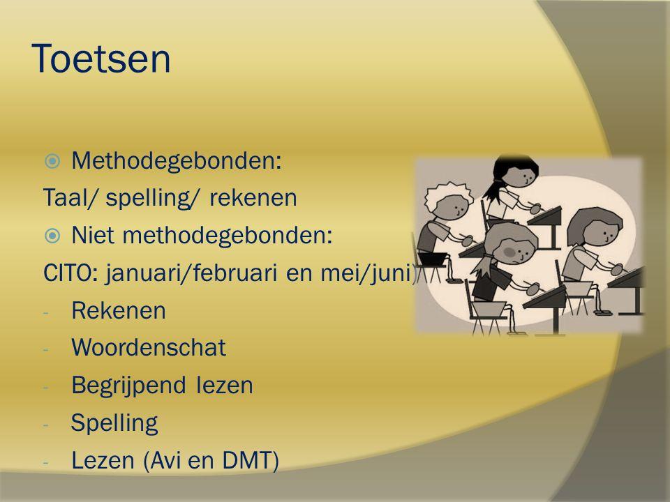 Toetsen Methodegebonden: Taal/ spelling/ rekenen Niet methodegebonden: