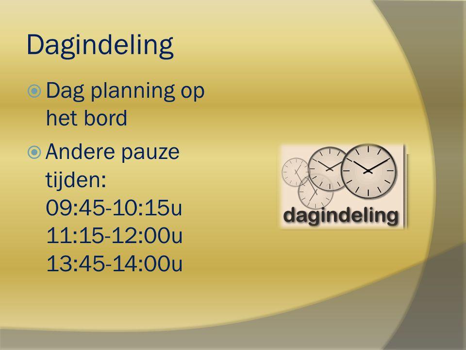 Dagindeling Dag planning op het bord