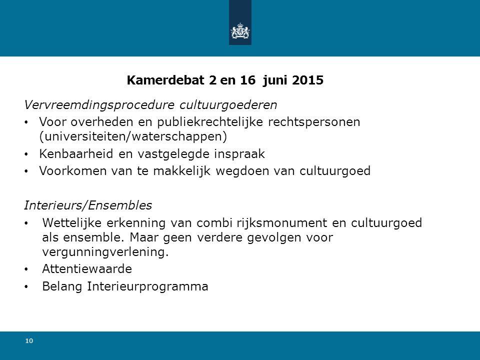 Kamerdebat 2 en 16 juni 2015 Vervreemdingsprocedure cultuurgoederen.