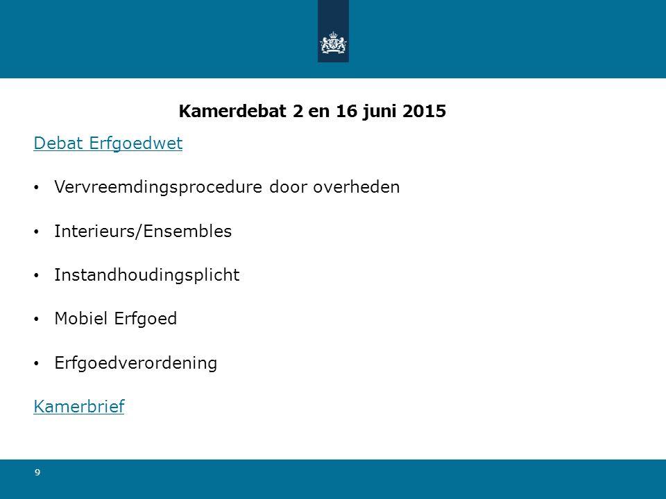 Kamerdebat 2 en 16 juni 2015 Debat Erfgoedwet. Vervreemdingsprocedure door overheden. Interieurs/Ensembles.