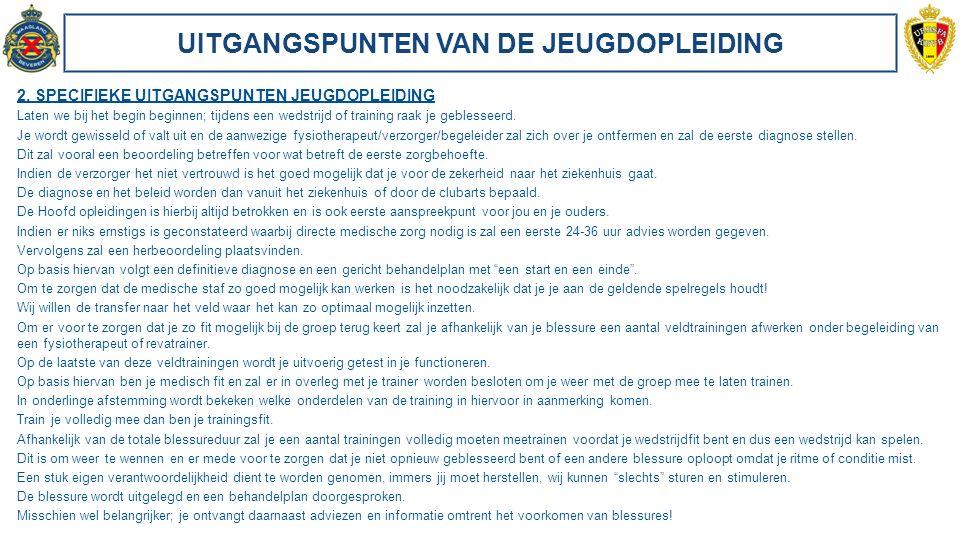 UITGANGSPUNTEN VAN DE JEUGDOPLEIDING