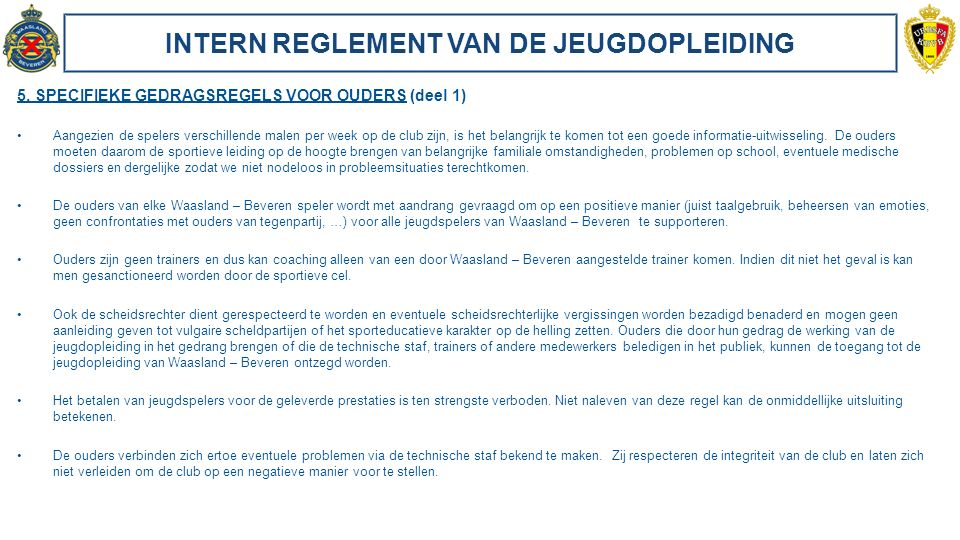 INTERN REGLEMENT VAN DE JEUGDOPLEIDING