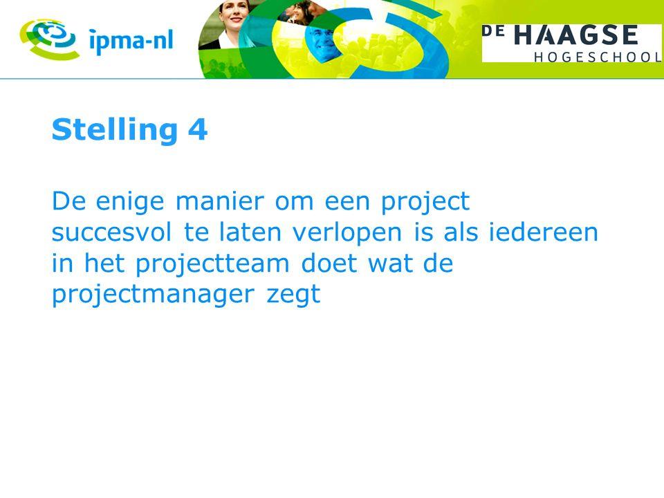 Stelling 4 De enige manier om een project succesvol te laten verlopen is als iedereen in het projectteam doet wat de projectmanager zegt.