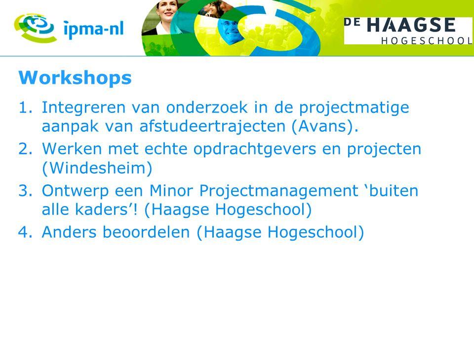 Workshops Integreren van onderzoek in de projectmatige aanpak van afstudeertrajecten (Avans).