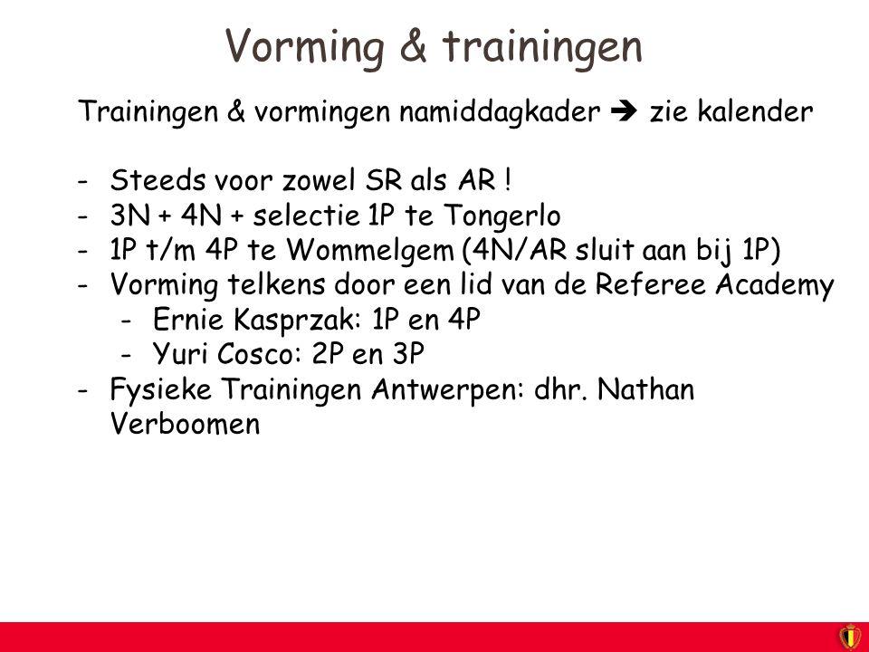 Vorming & trainingen Trainingen & vormingen namiddagkader  zie kalender. Steeds voor zowel SR als AR !