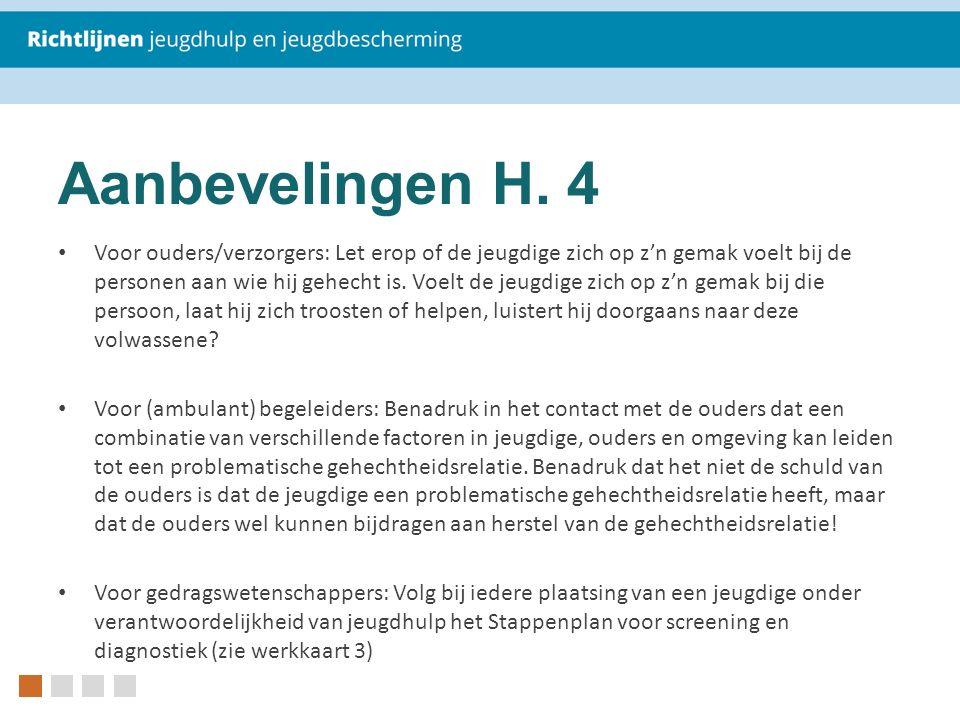 Aanbevelingen H. 4