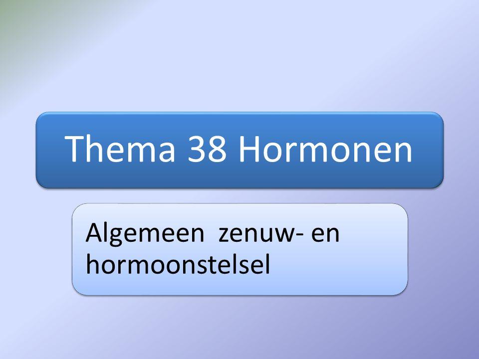 Thema 38 Hormonen Algemeen zenuw- en hormoonstelsel
