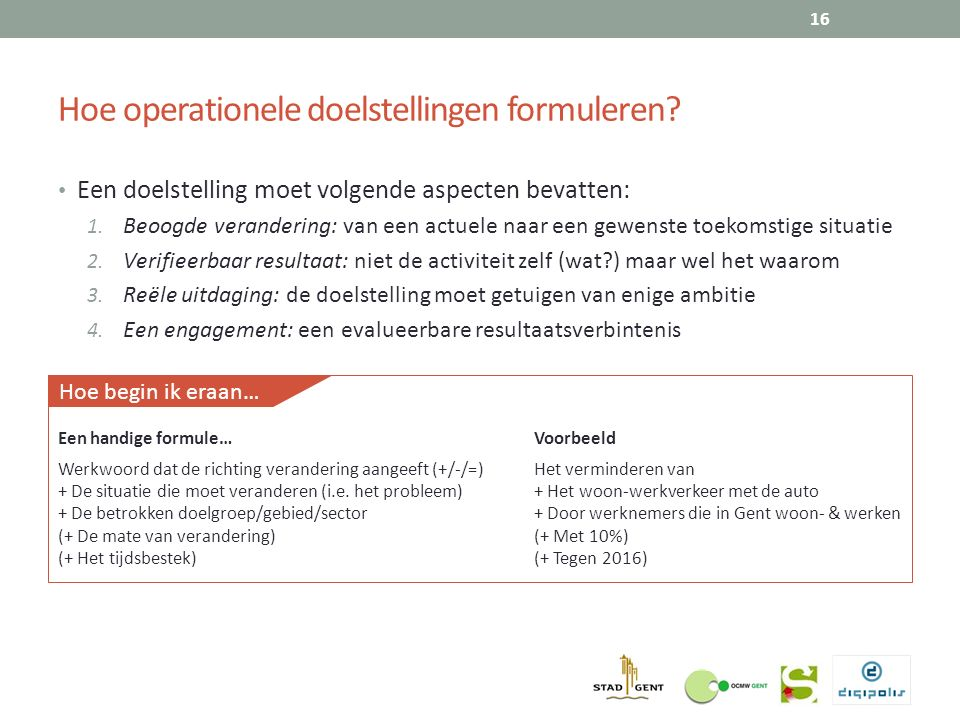 Hoe operationele doelstellingen formuleren