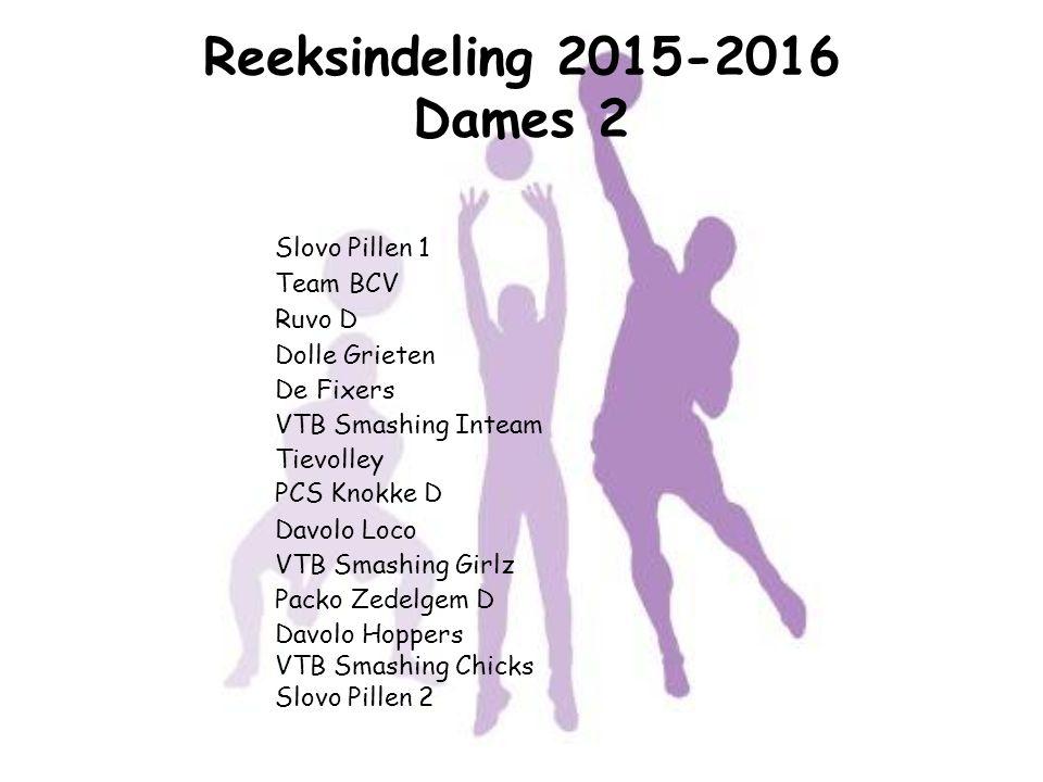 Reeksindeling 2015-2016 Dames 2 Slovo Pillen 1 Team BCV Ruvo D