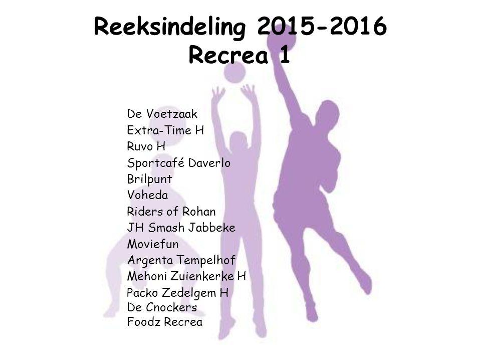 Reeksindeling 2015-2016 Recrea 1